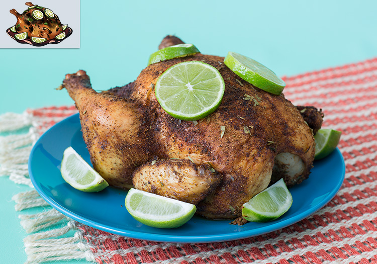 "A roasted chicken on a plate garnished with lime, as well as the in-game chicken art from ""Battle Chef Brigade"""
