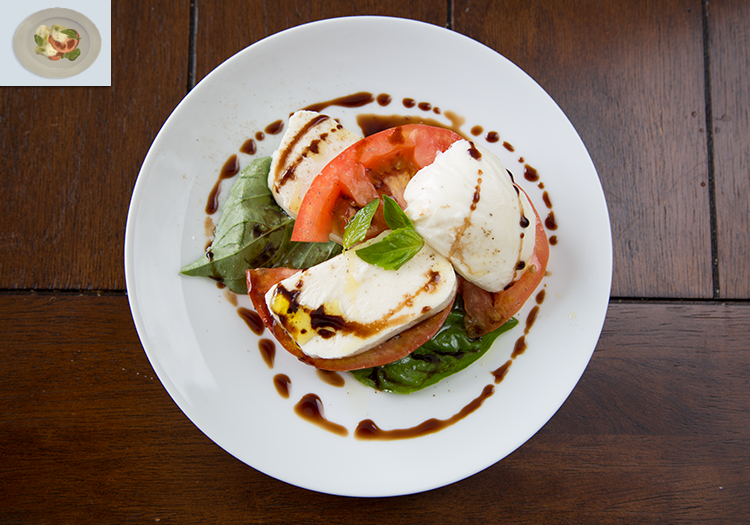 "A caprese salad on a plate, as well as the in-game caprese art from ""The Sims 4"""