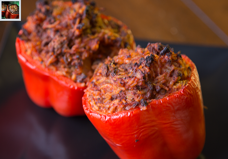 "2 stuffed red bell peppers, as well as the in-game stuffed pepper art from ""Guild Wars 2"""