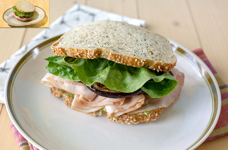 """Meat, eggplant, and lettuce sandwich on a plate, as well as the in-game sandwich art from """"Final Fantasy XV"""""""