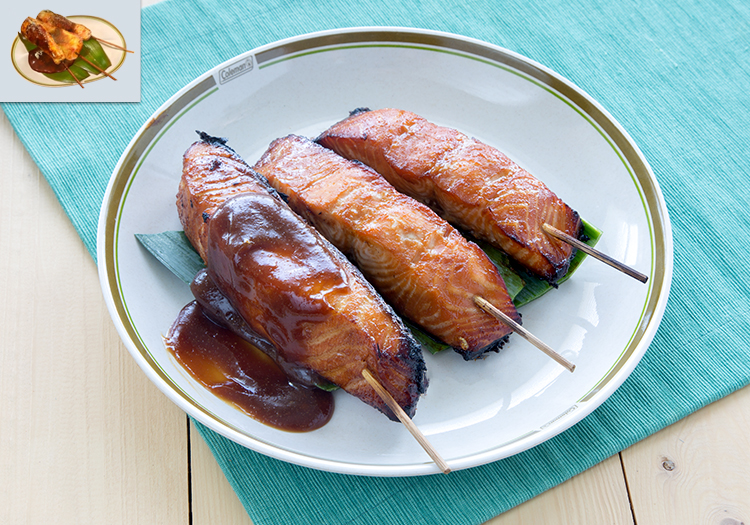 "3 teriyaki salmon skewers, as well as the in-game salmon skewers from ""Final Fantasy XV"""