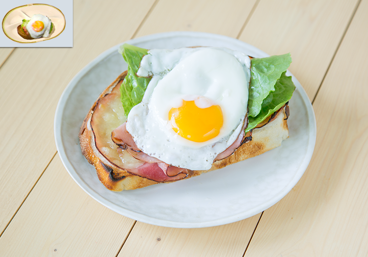 """A croque madame open faced sandwich, as well as the in-game croque madame from """"Final Fantasy XV"""""""