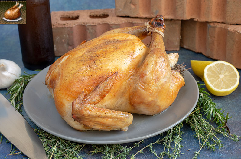 """A whole roasted chicken on a plate garnished with lemon, herbs, and garlic, as well as the in-game roast chicken art from """"Streets of Rage"""""""