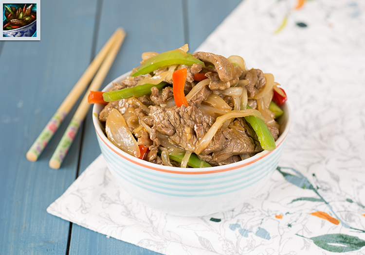 "A bowl of sliced beef and vegetables with chopsticks, as well as the in-game pepper steak art from ""Guild Wars 2"""