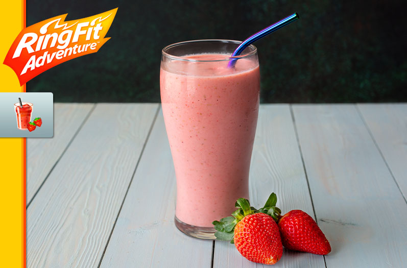 "A strawberry smoothie in a glass with a straw and strawberry garnish, as well as the game logo and strawberry smooth art from ""Ring Fit Adventure"""