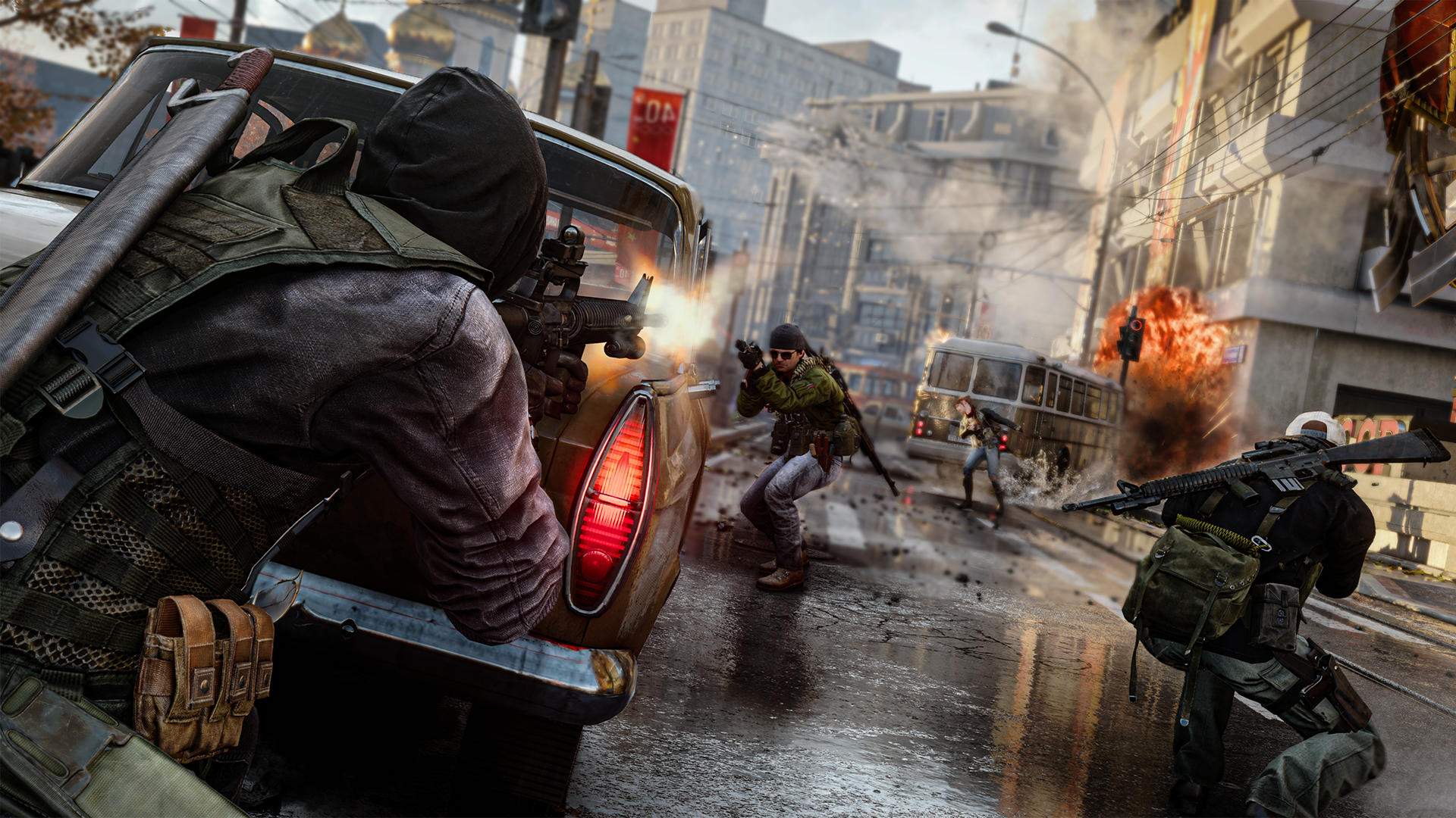 Players hunker behind cars and wreckage to avoid being taken out in Black Ops Cold War.