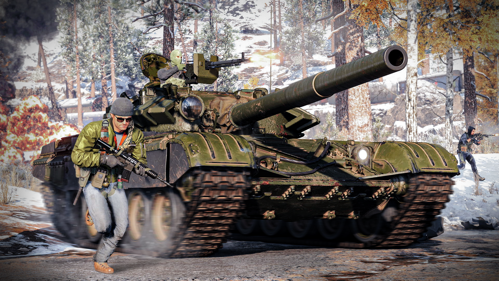 Soldiers surrounding a tank in Call of Duty: Black Ops Cold War.