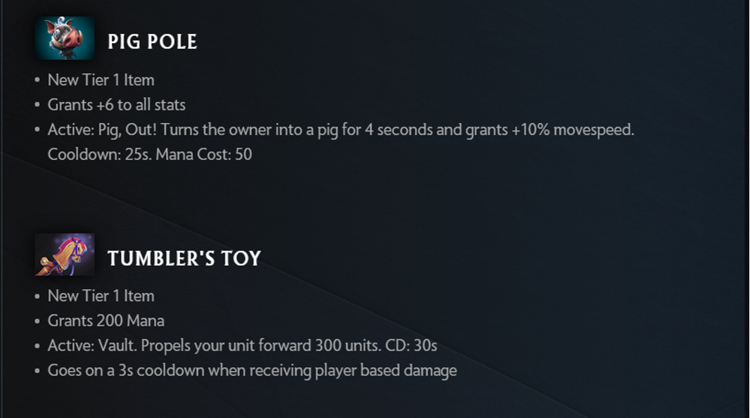 the change in items