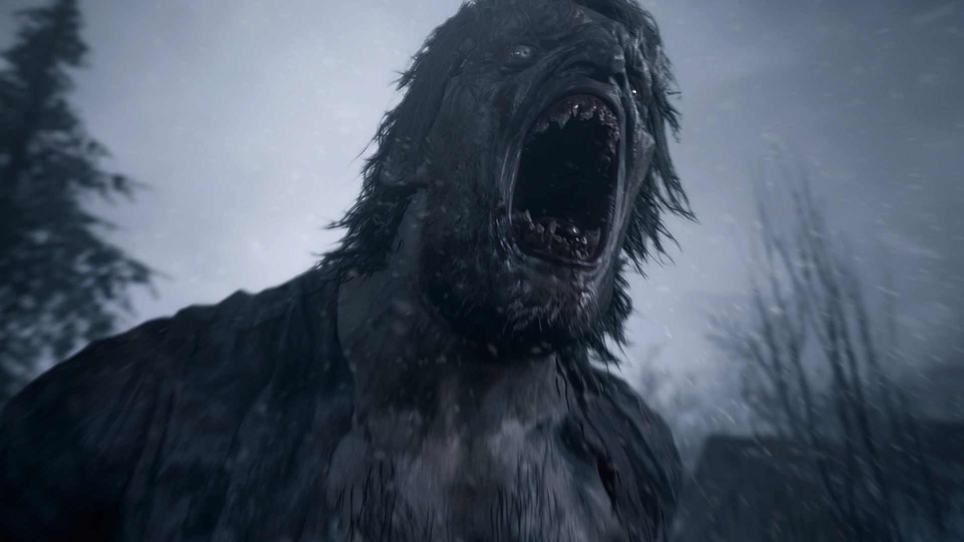 A terrifying monster from Resident Evil: Village roars.
