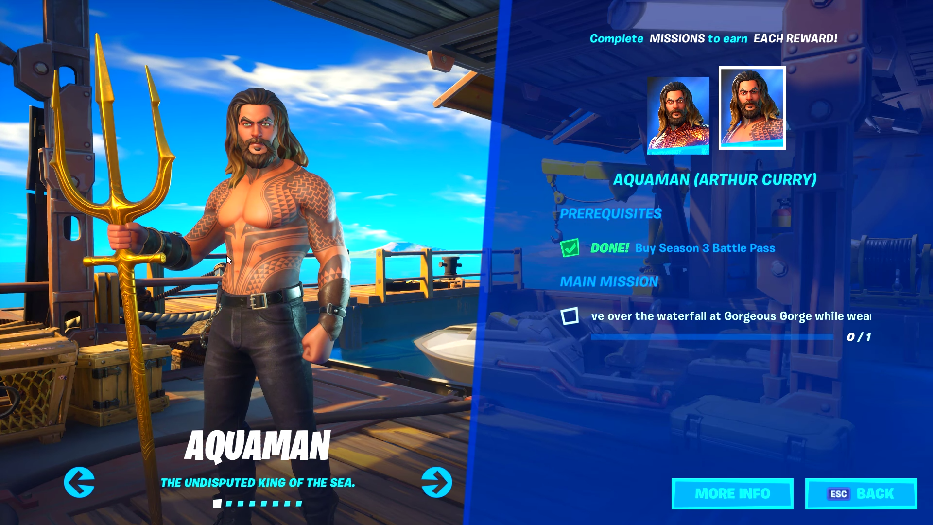 A look at the new Aquaman skin and some of the challenges you can complete in the new Battle Pass.