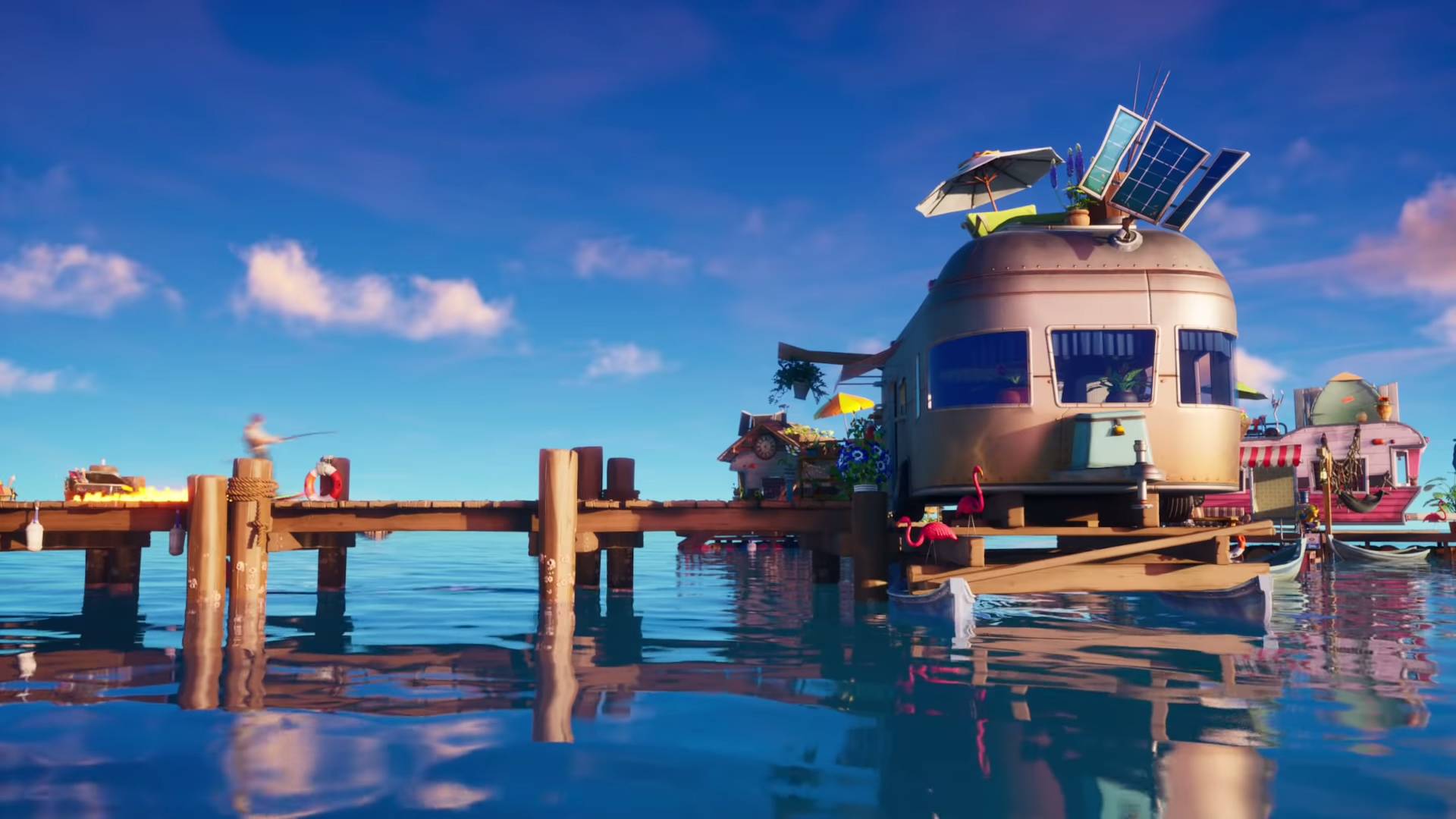 A look at the new flooded Fortnite map, with a trailer seen at the end of a wooden pier.