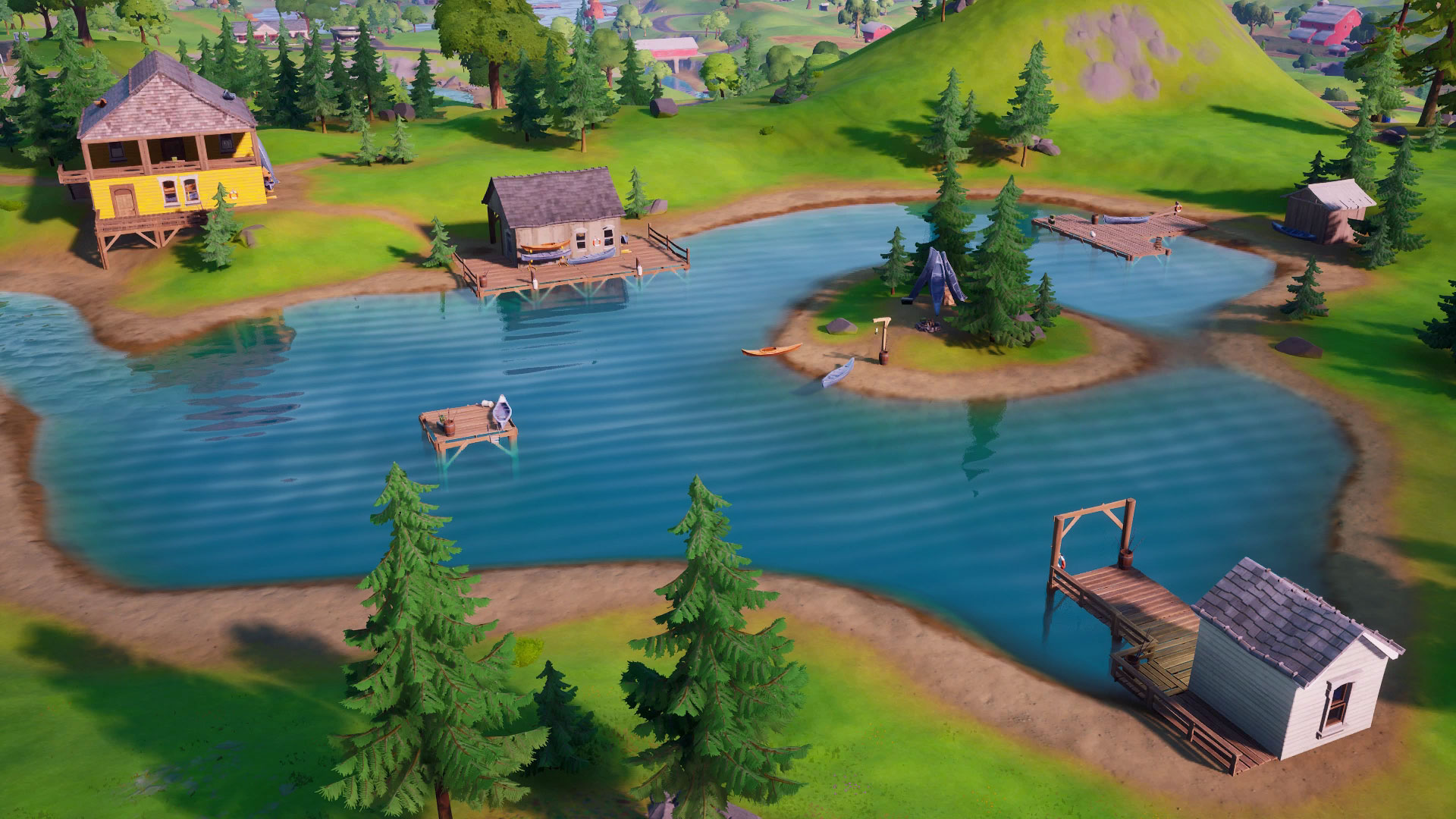 Fortnite's picturesque Lazy Lake and its surrounding buildings.