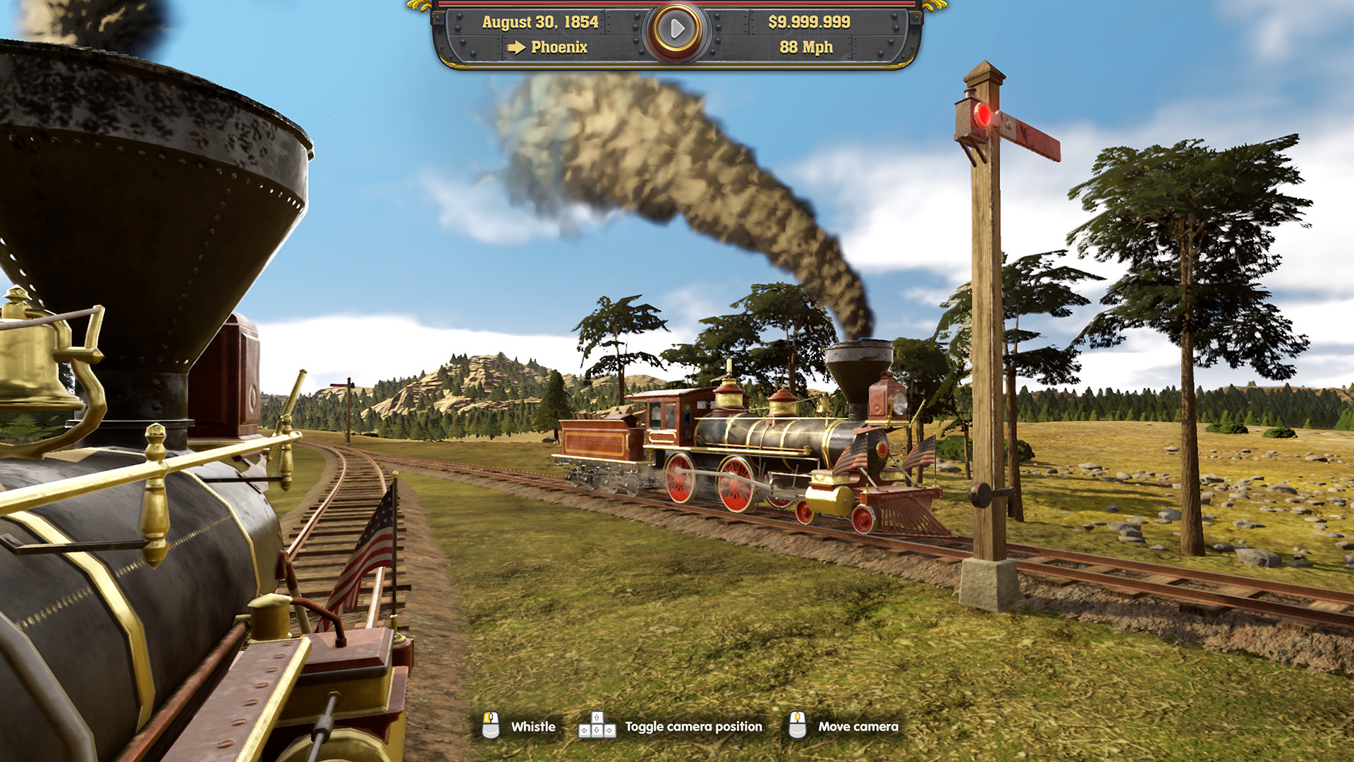 A train heads off, smoke billowing out of the top of the car, as it rides toward adventure.