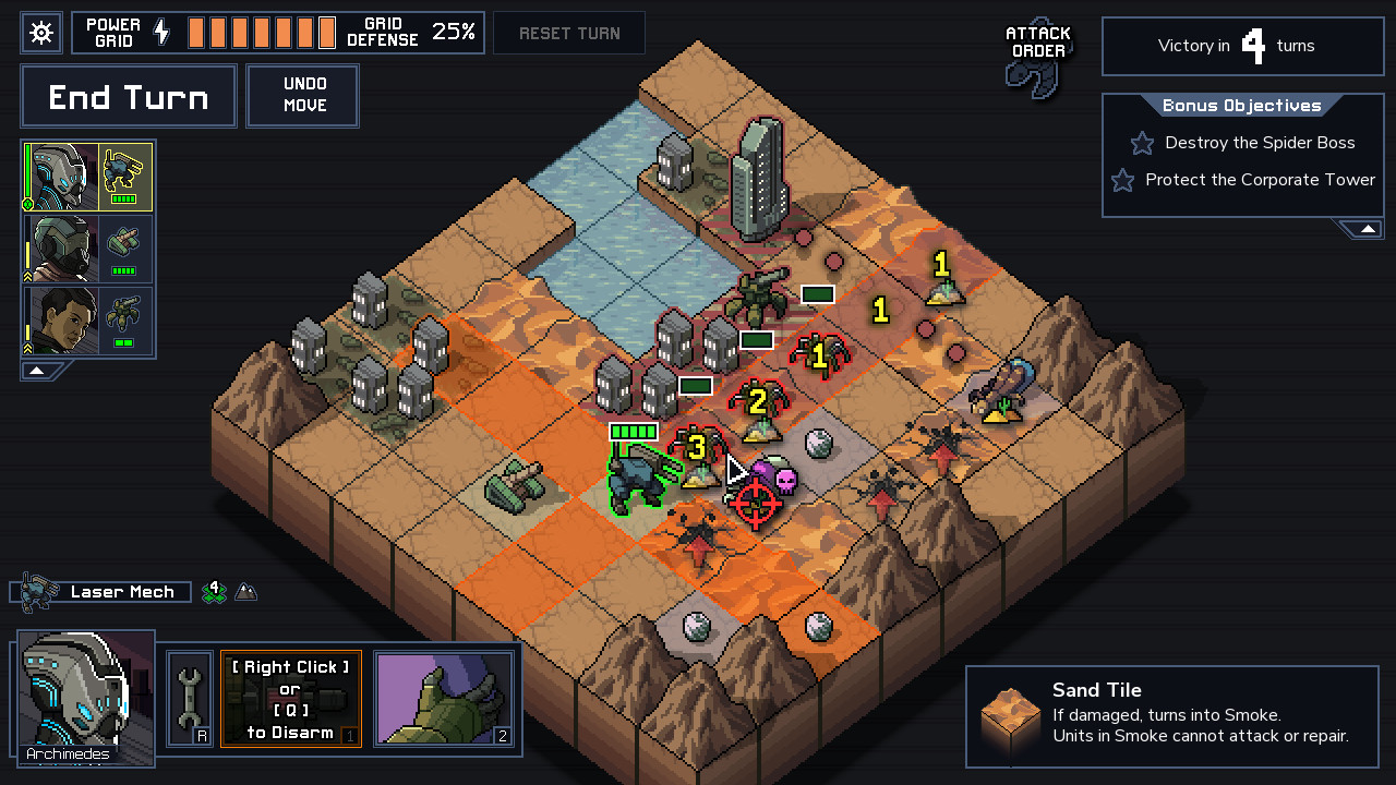 Mechs engage enemies in Into the Breach across the challenging Sand Tile areas.