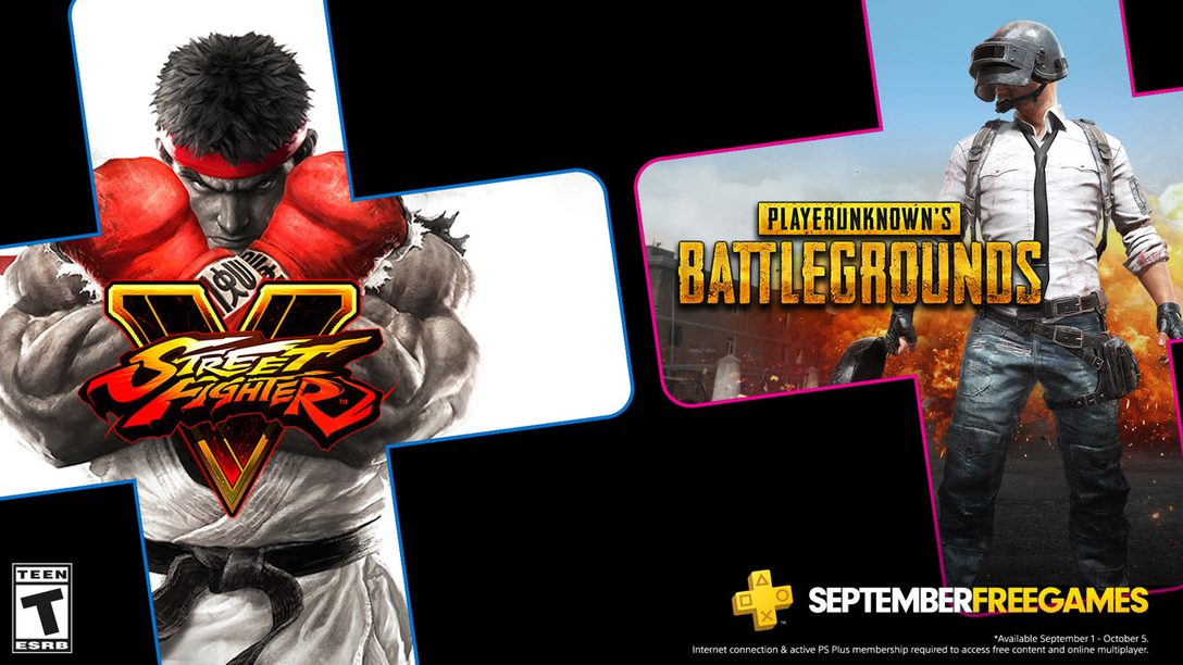A graphic showcasing September's free PS Plus games for September.