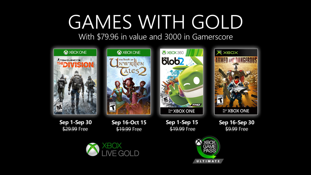 A graphic showing off September's free Games with Gold