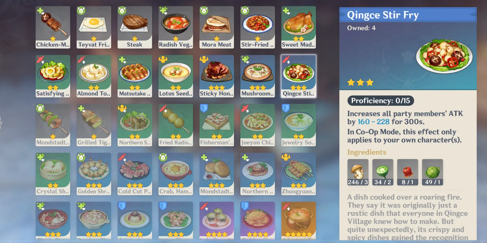 An image of the Qingce Stir Fry entry in the list of recipes available in Genshin Impact.