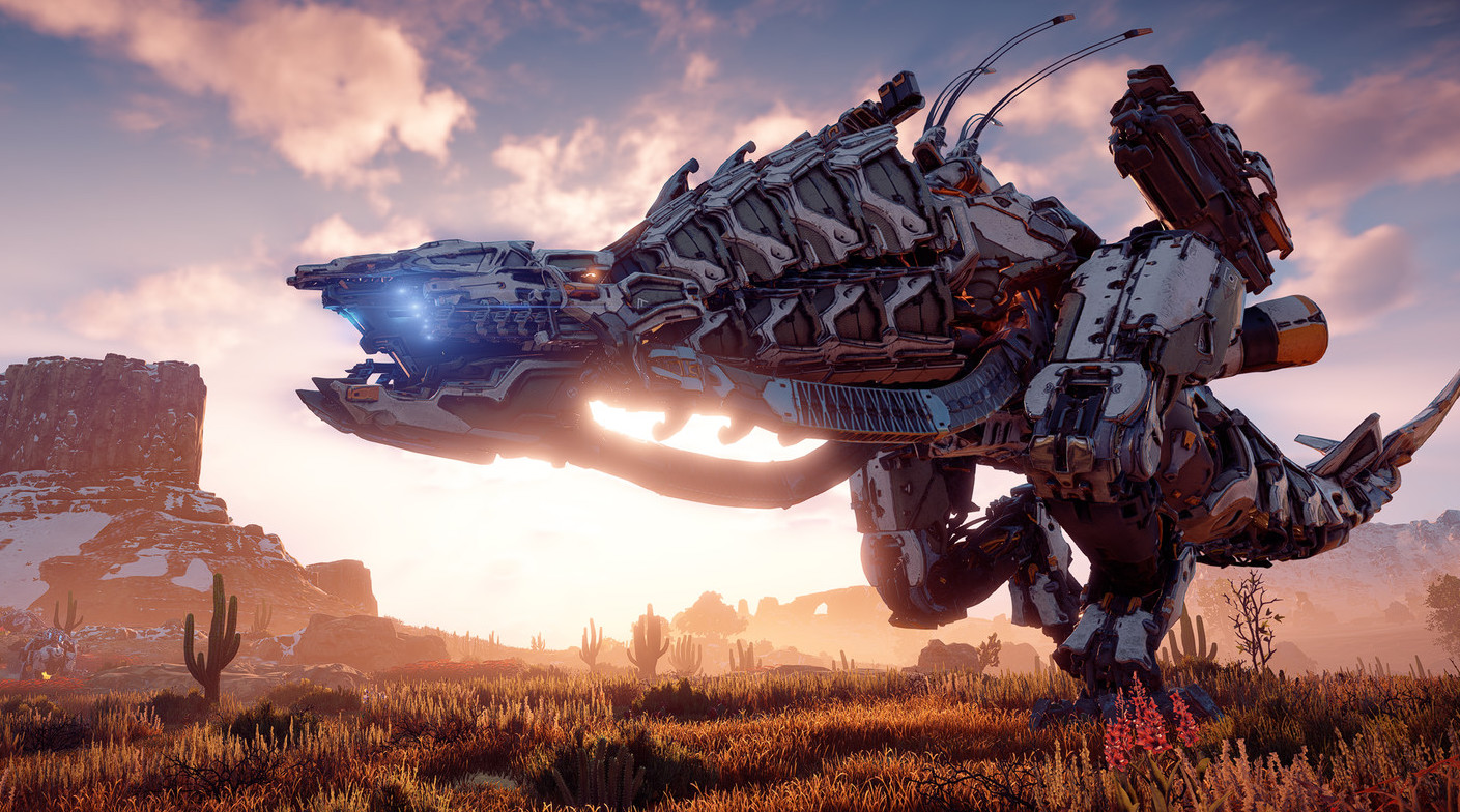 One of the massive machines that roam the world of Horizon Zero Dawn stands ready and waiting for action