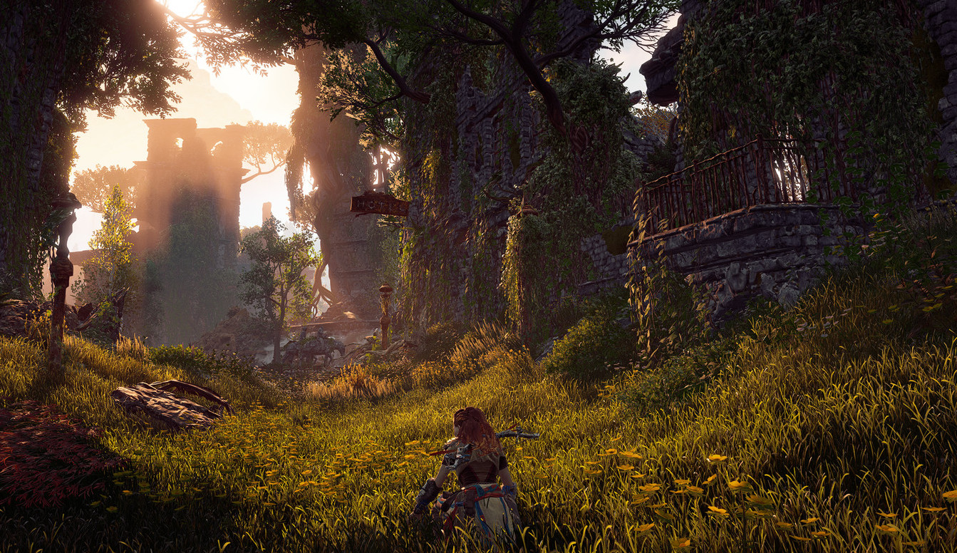 Aloy looks on in a picturesque area in the forest dimly lit by the sunset.