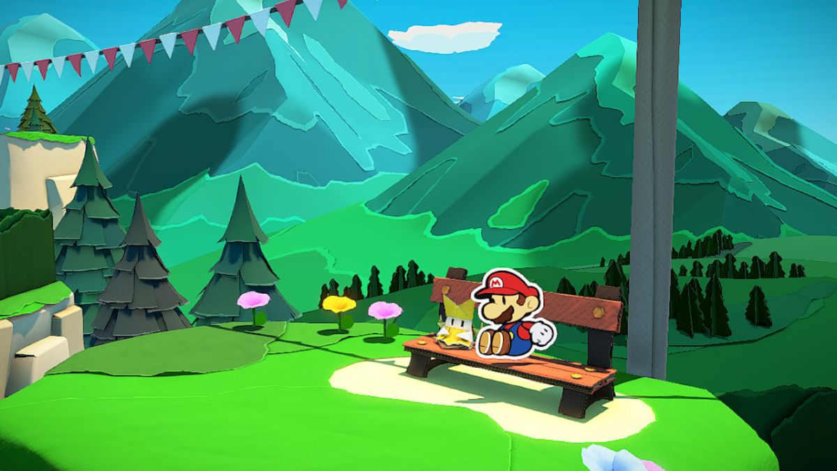 Mario and Olivia rest on a bench together in a green area.
