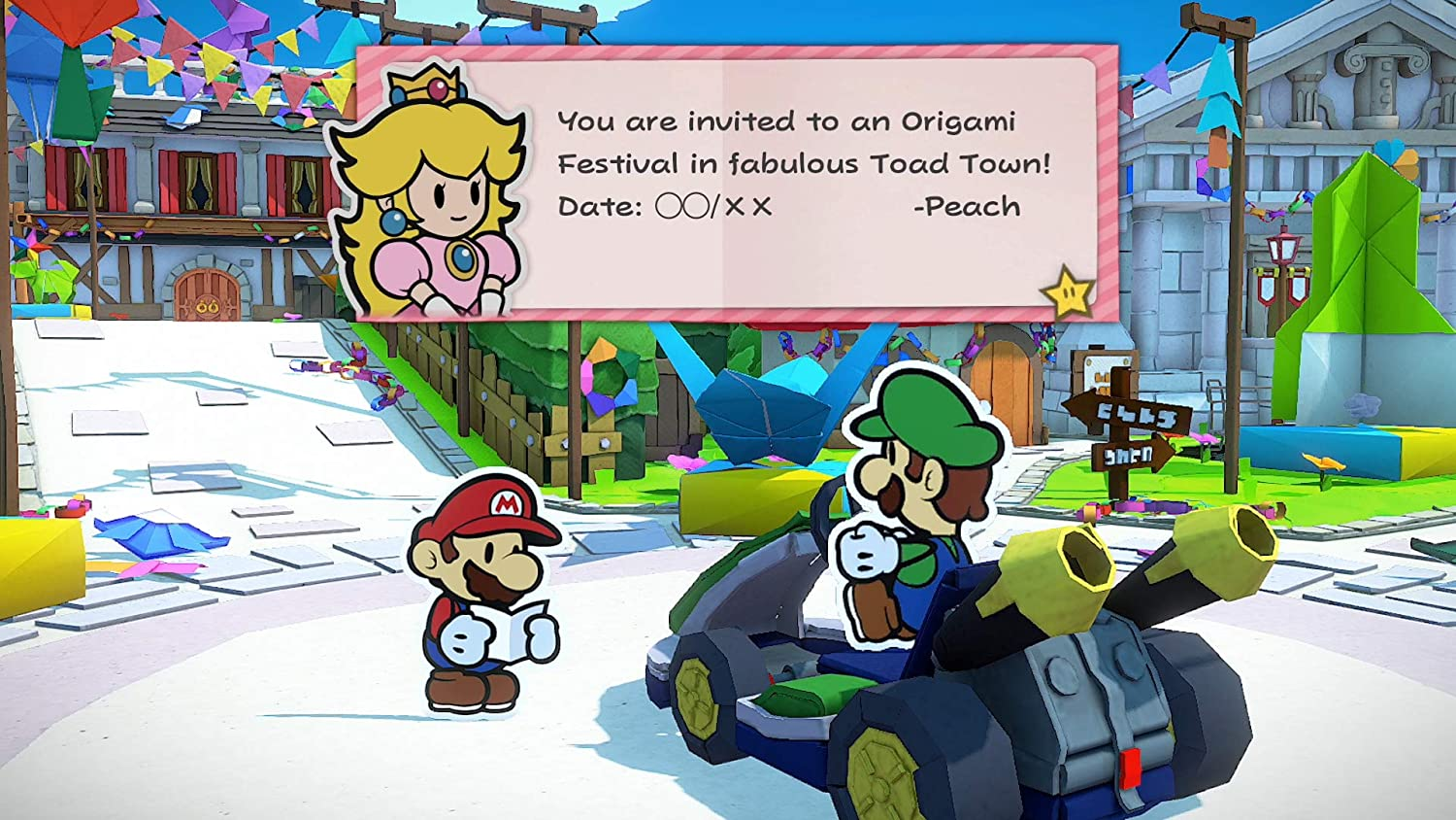 Princess Peach welcomes Mario and Luigi to Toad Town for a special origami event.