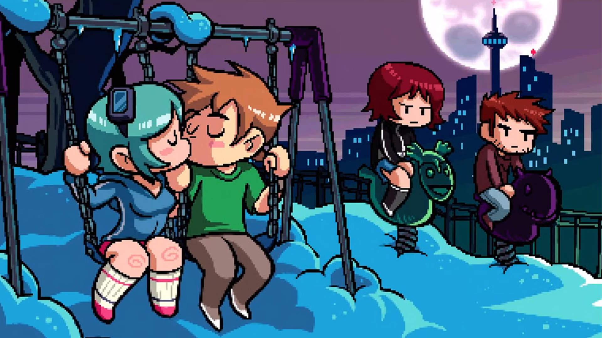 Scott and Ramona share a kiss on the swingset.
