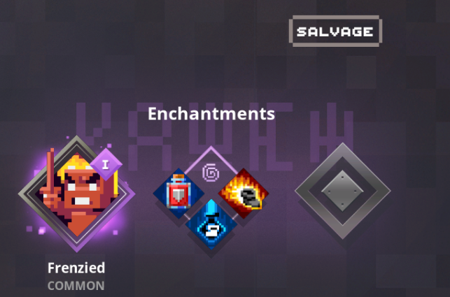 A selected enchancement, plus 3 additional enchancement options for a ranged weapon in Minecraft Dungeons