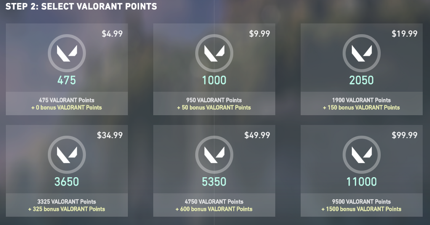 In-game screenshot from Valorant's points purchase menu displaying 6 different point purchasing options, including 475 points for $4,99, 1000 points for $9,99, 2050 points for $19,99, 3650 points for $34,99, 53350 points for $49,99, and 11000 points for $99,99