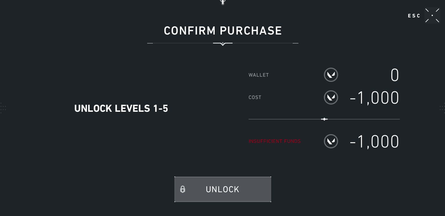 "In-game screenshot from Valorant's agent purchase menu displaying ""Confirm purchase, unlock levels 1-5, -1000 Valorant Points"", and an ""Unlock"" button"