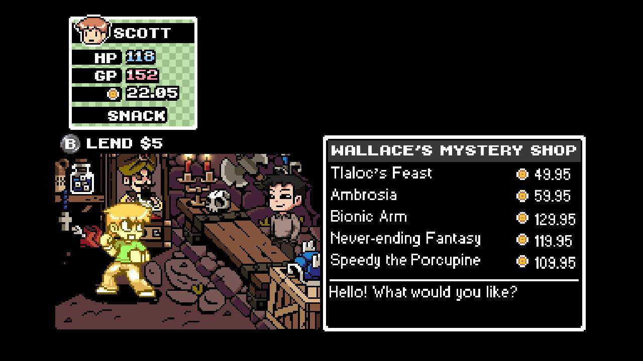 Scott hangs out in Wallace's Mystery Shop, full of weird curios.