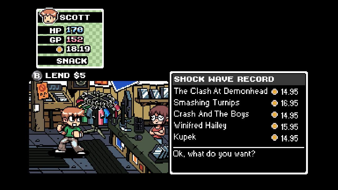 One of the many storefronts in Scott Pilgrim vs. The World: The Game
