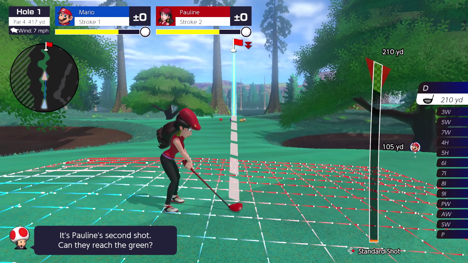 A glimpse at a player about to launch a shot using the gauge on the right of the screen.