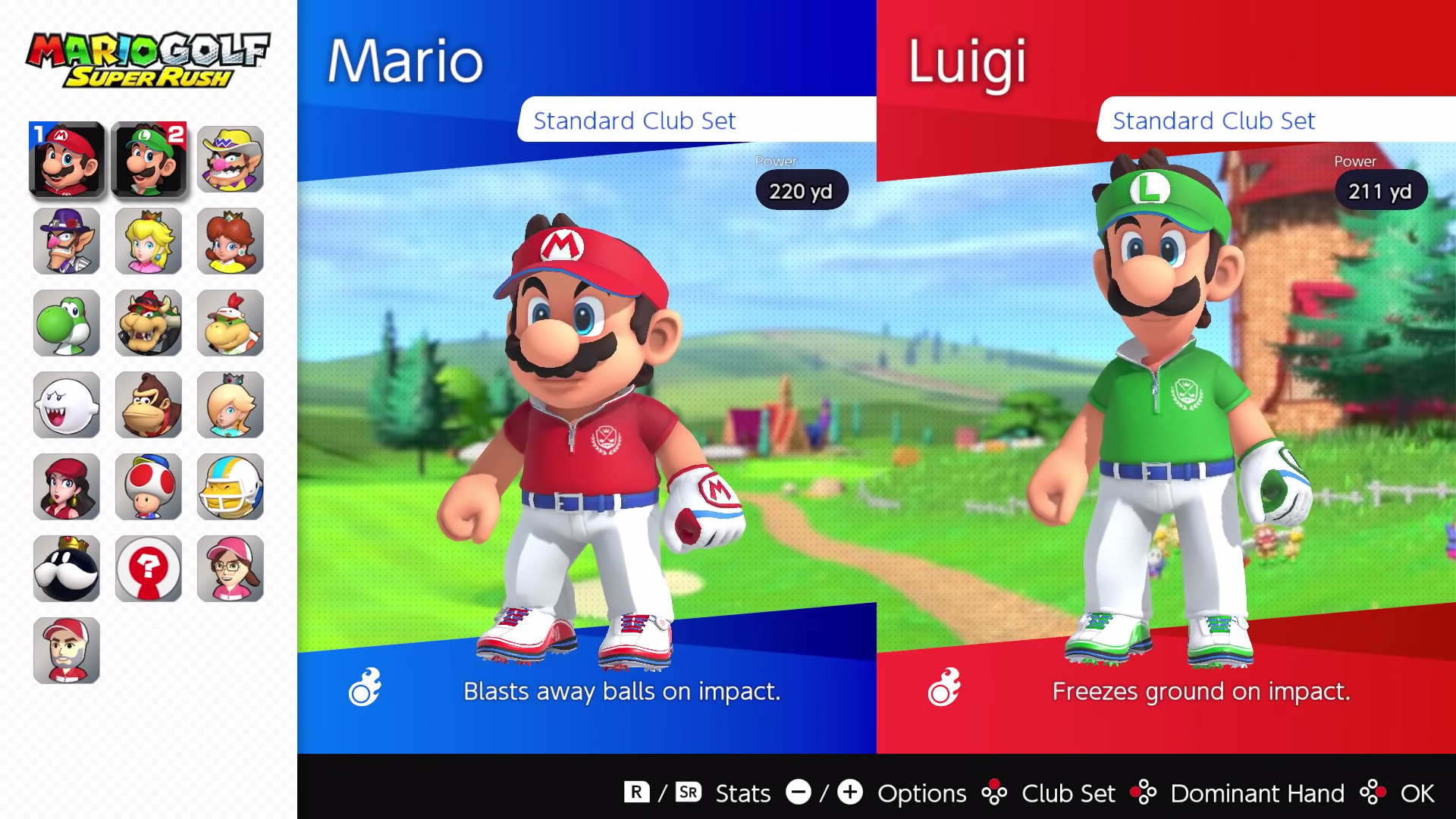 A look at the character selection screen from Mario Golf: Super Rush.
