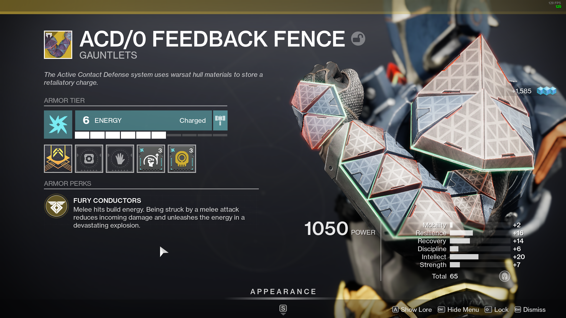 Exotic ACD/0 Feedback Fence guantlet item equipped in Destiny 2 inventory menu