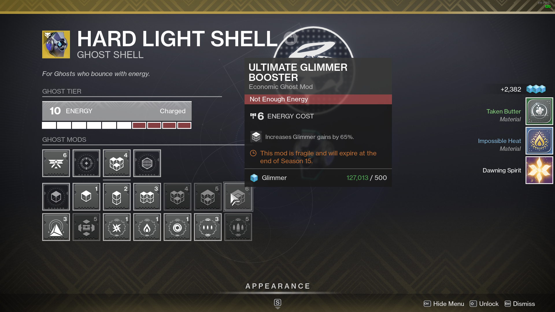"Exotic Hard light ghost shell in Destiny 2 with ""Ultimate Glimmer Booster"" mod in inventory menu"