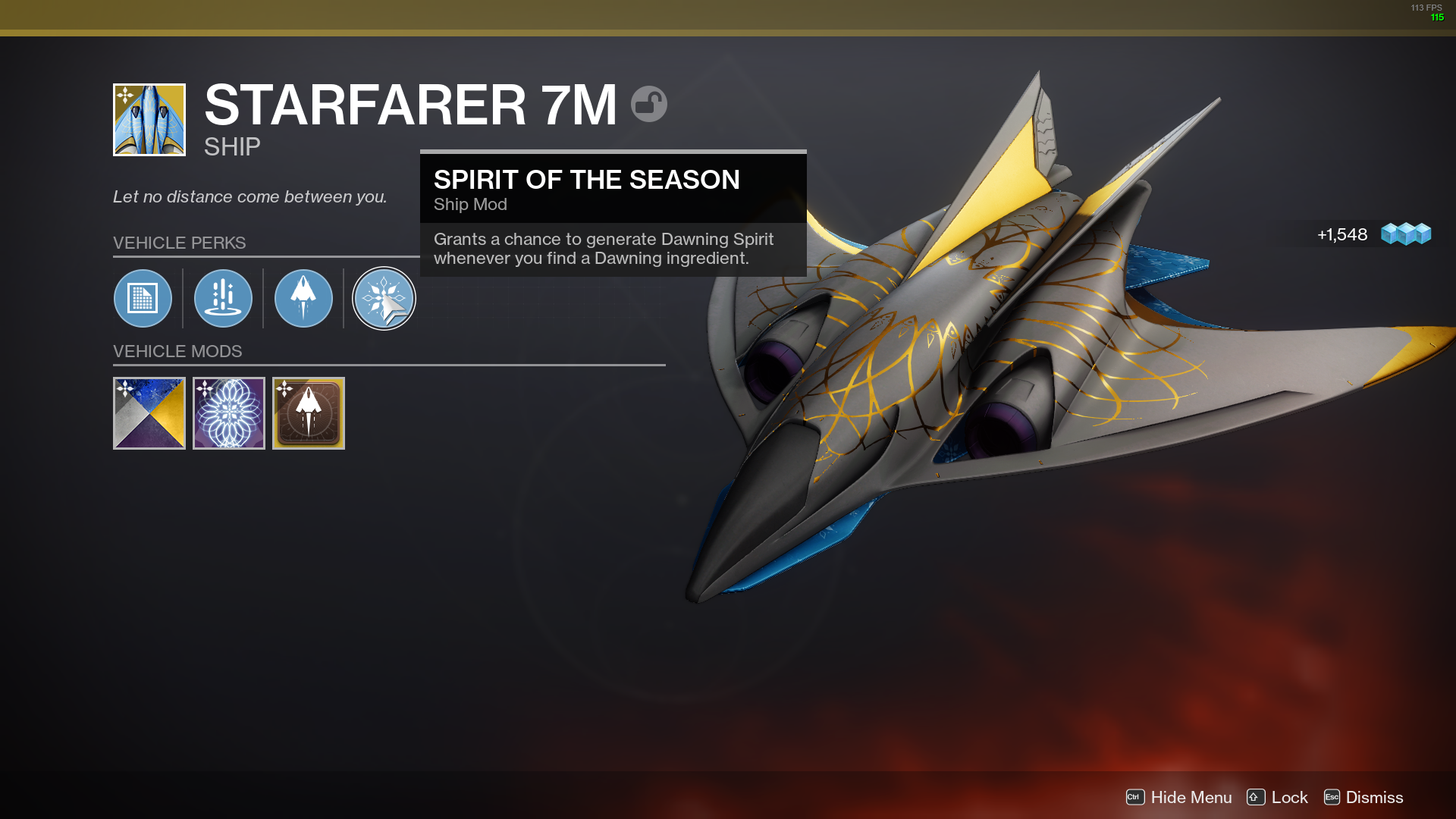 "Exotic Starfarer 7M ship in Destiny 2 inventory with ""Spirit of the Season"" ship mod"