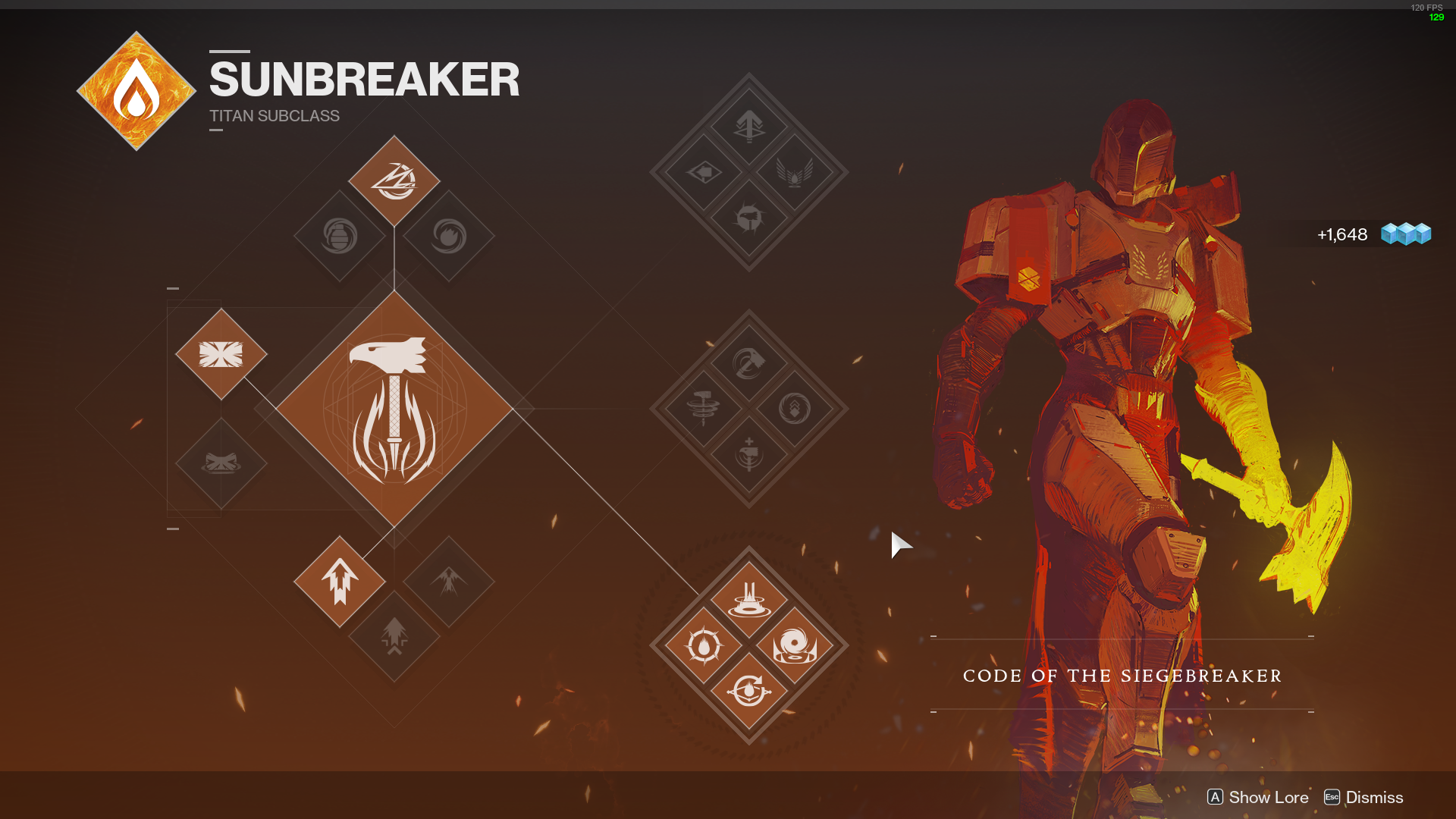 "Sunbreaker Titan subclass ability section with the ""Code of the Siegebreaker"" abilities selected in Destiny 2"