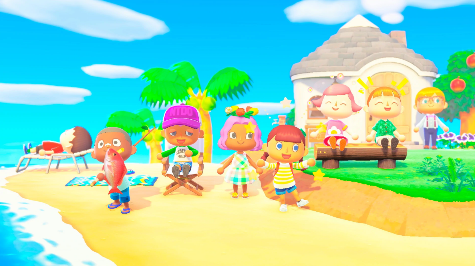 Animal Crossing: New Horizons group of characters in summer