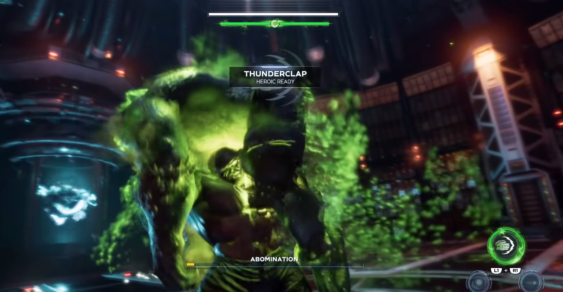 Abomination releases poison gas while Hulk readies himself for a counterattack.