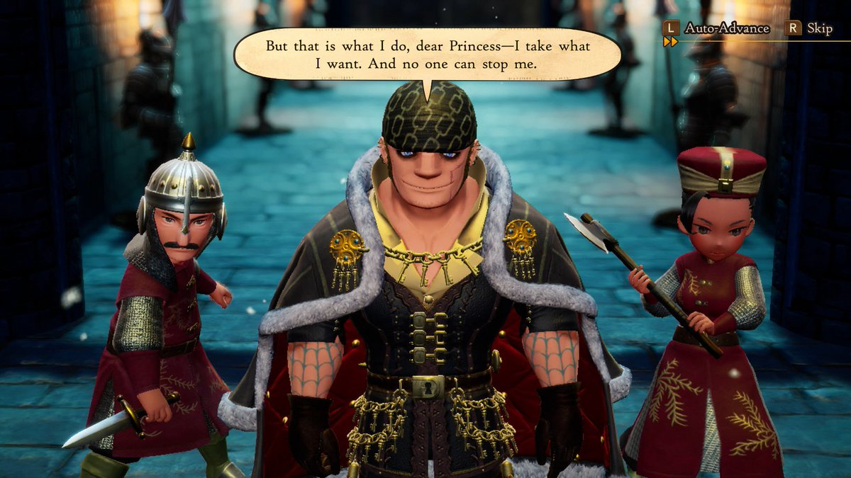 Bernard tries to intimidate the player's party in Bravely Default 2.
