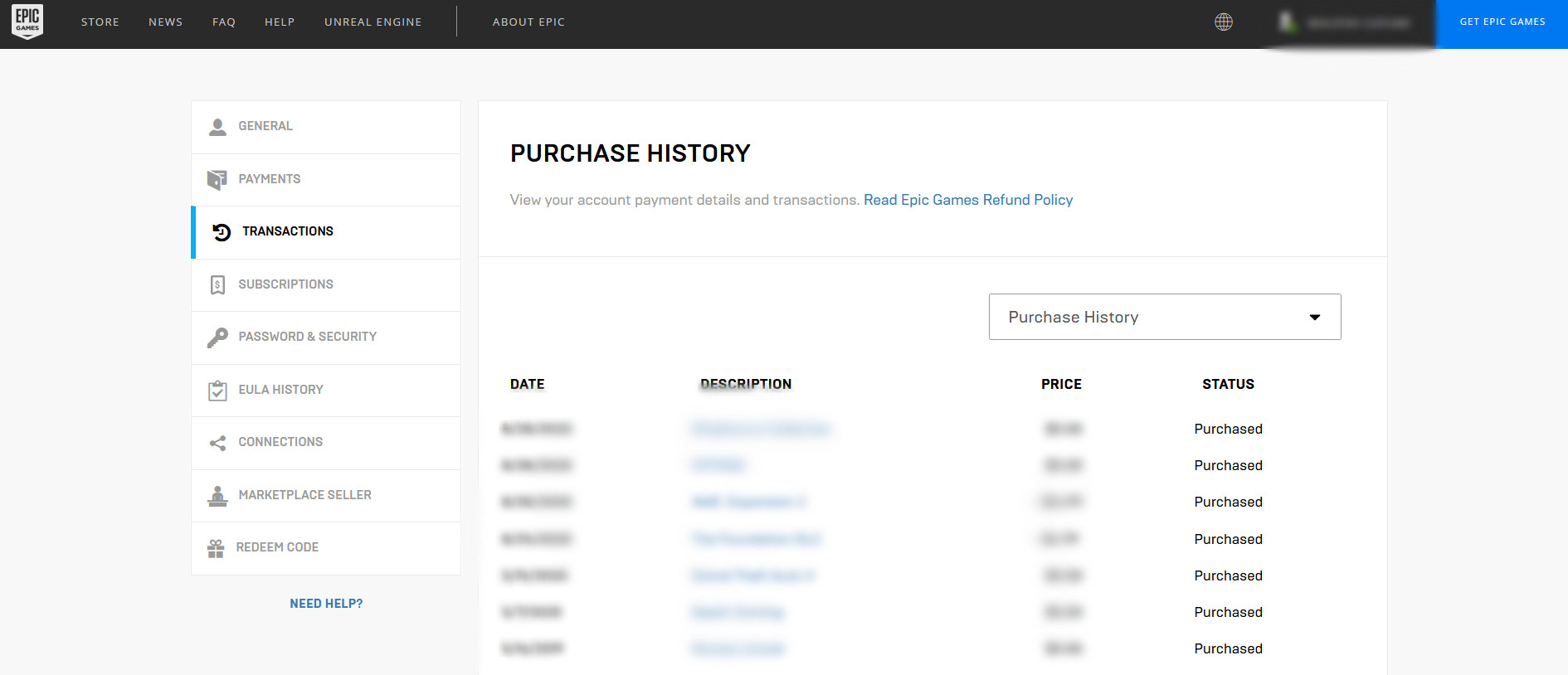 A shot of a Purchase History screen that will show up for players after logging in.