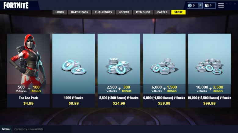 A look at some of the items on sale in Fortnite that you can spend real-world cash on.