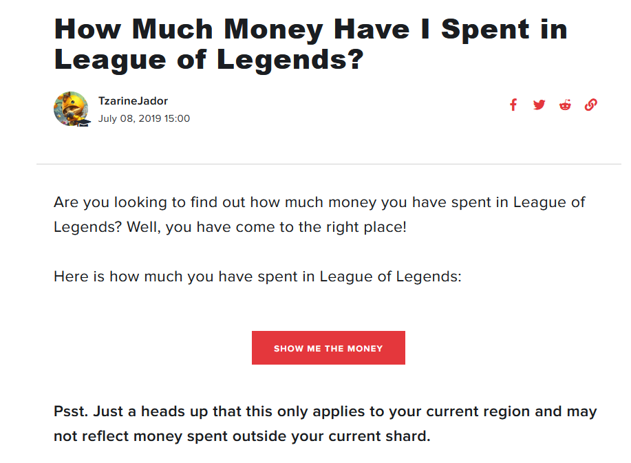 "A look at the login screen on the Riot Games support page that says ""Show Me The Money."""