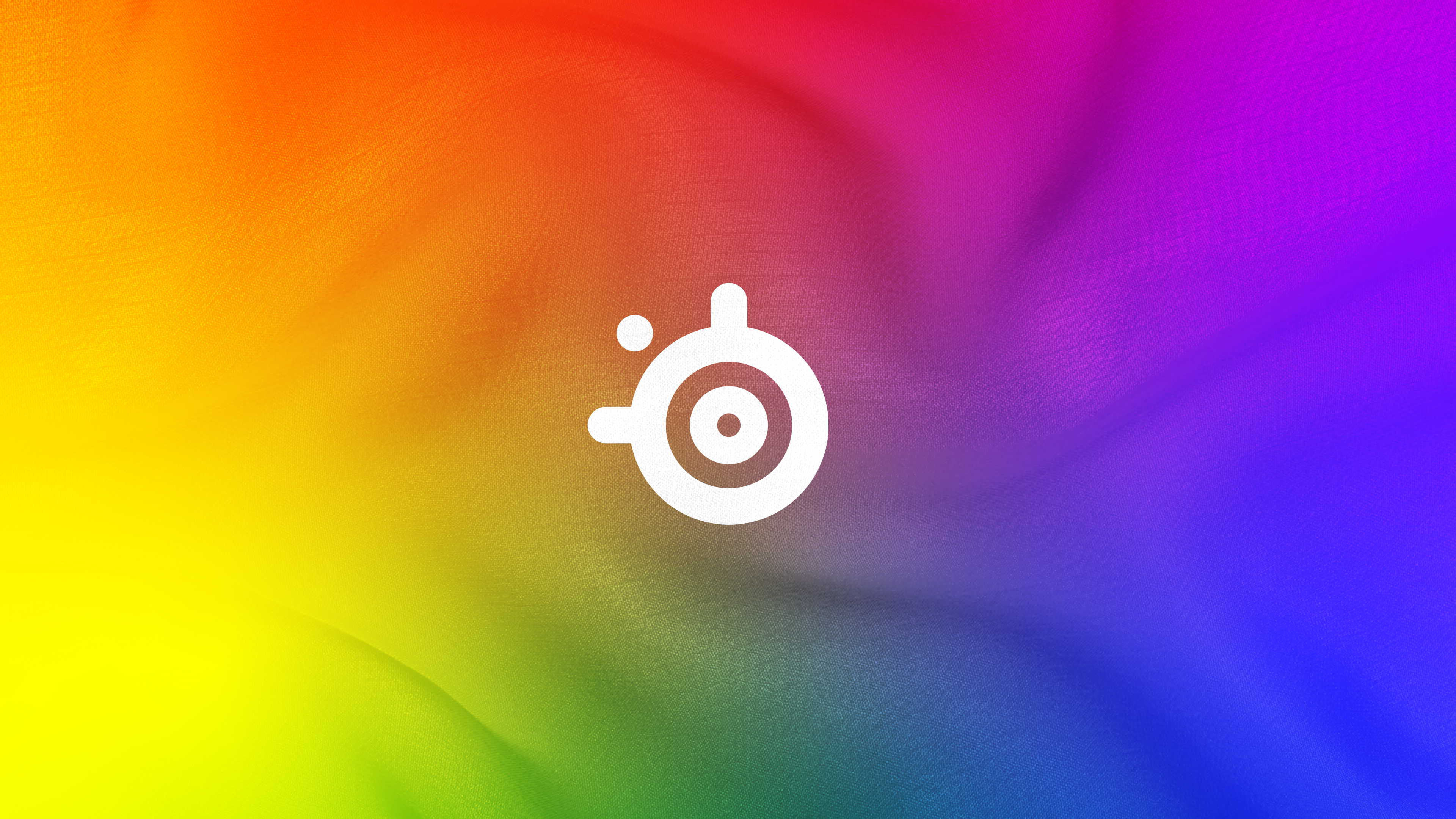SteelSeries logo on a rainbow background