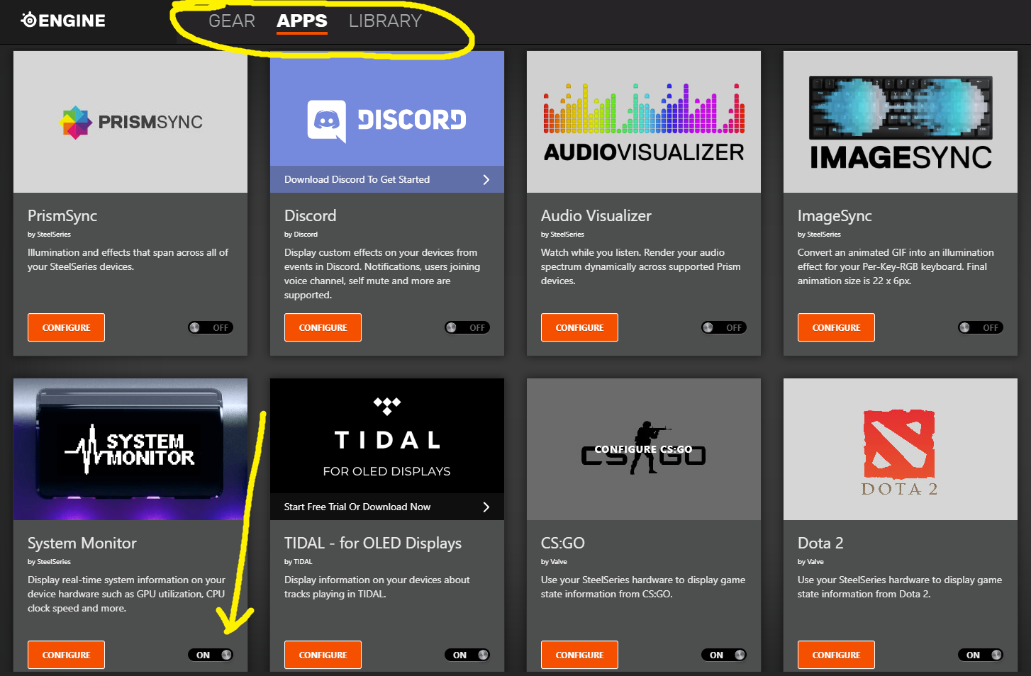 "SteelSeries Engine apps folder containing System Monitor, Discord, CS:GO, Dota 2, Audio Visualizer, and other apps. ""APPS"" is circled, and there's an arrow point to the location of System Monitor"
