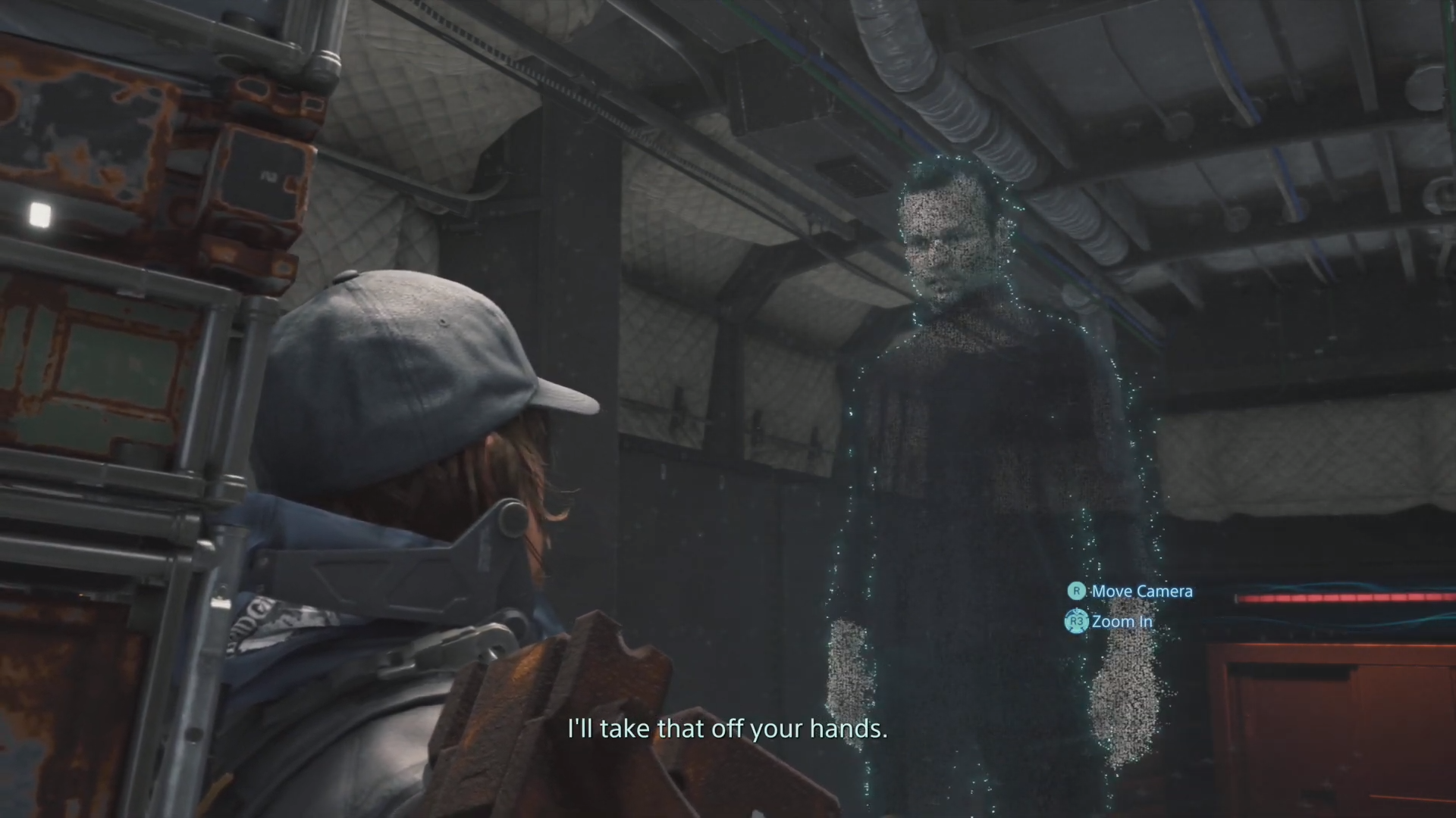 Sam interacts with the Craftsman's hologram before delivering cargo.