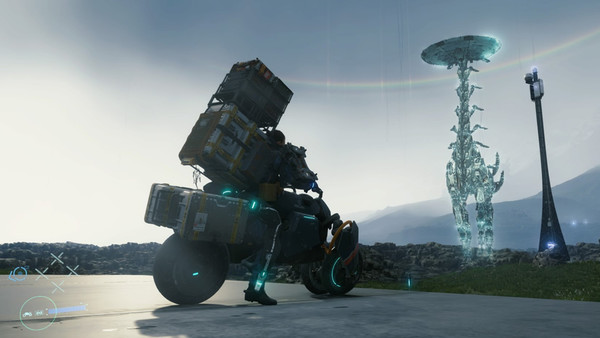 Sam stares up at a Tallneck hologram from Horizon Zero Dawn seen in Death Stranding.