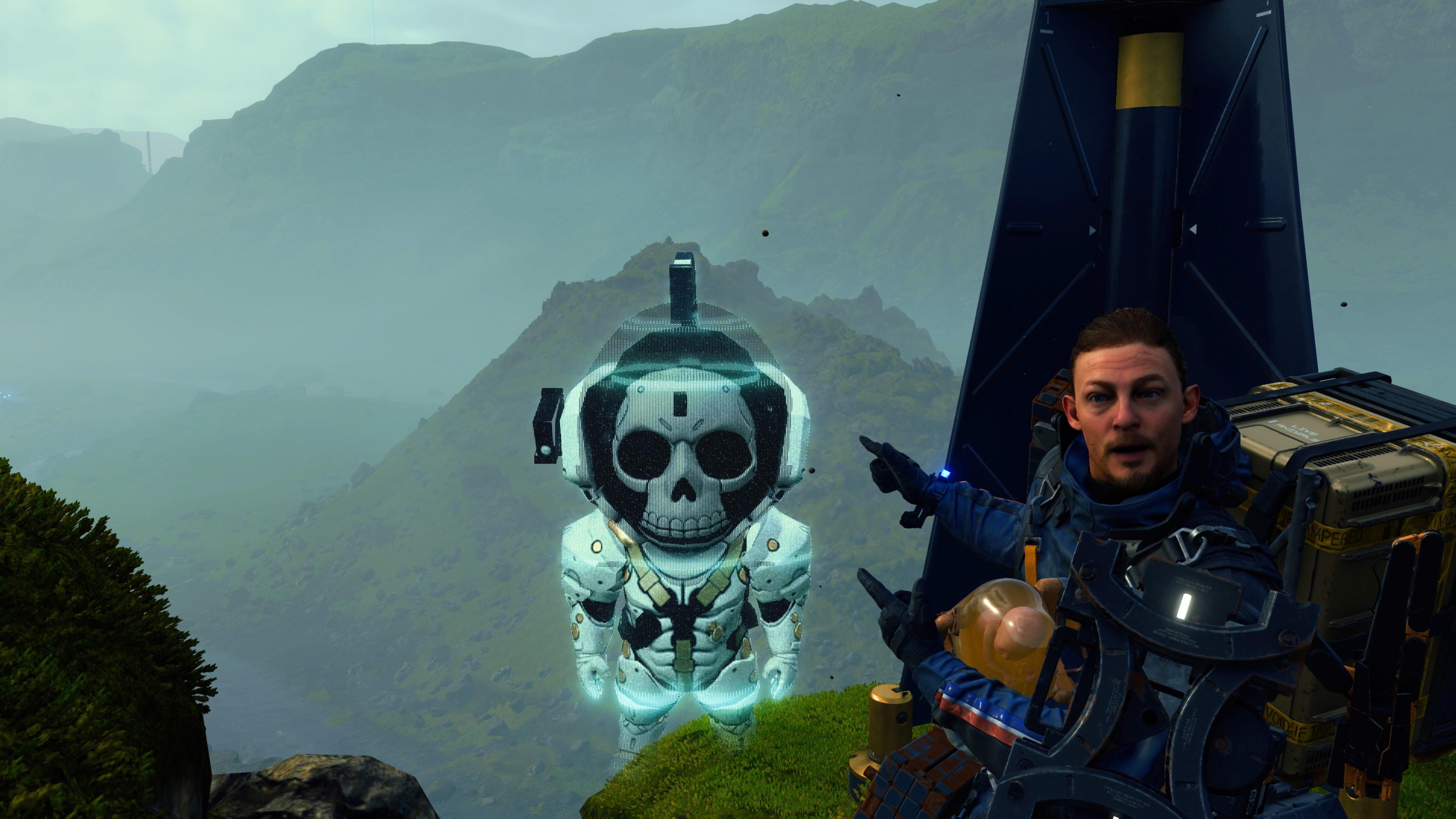 Sam poses beside a Ludens Nendoroid hologram.