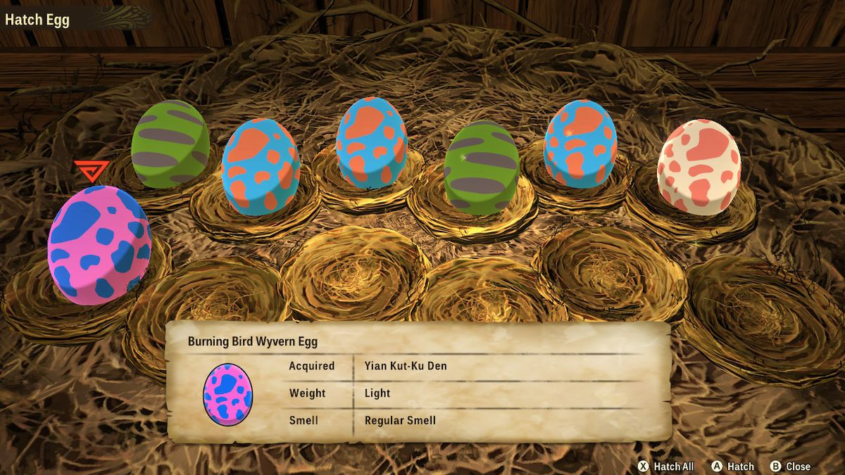A look at a nest of eggs in Monster Hunter Stories 2: Wings of Ruin.