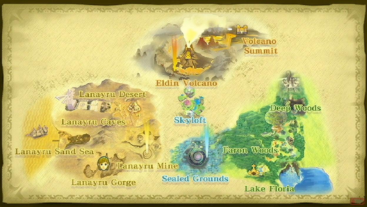 The map of the Skyward Sword HD overworld.